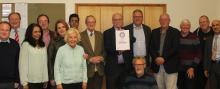 Cllrs celebrate with volunteer of 'Plastic Free Wilmslow'